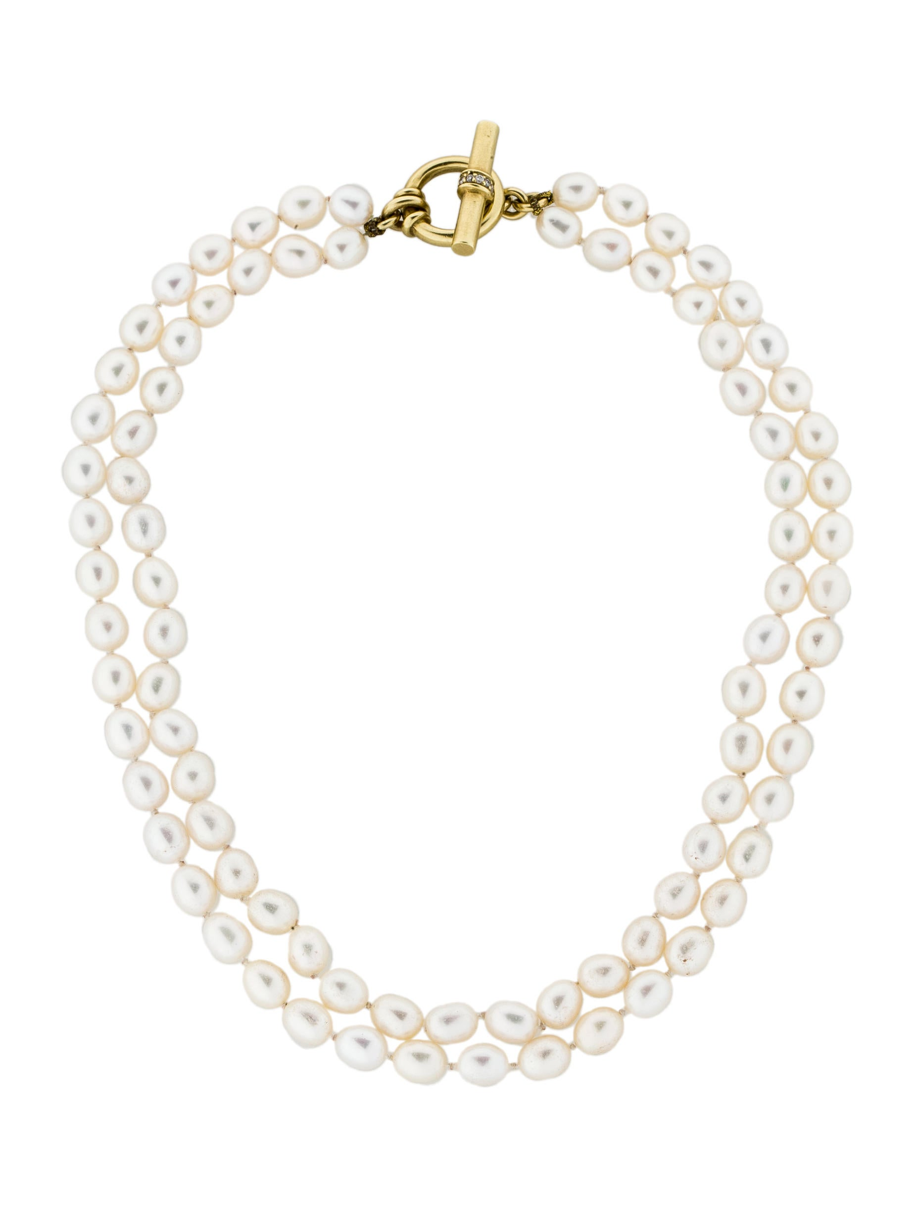 Slane Double Strand Pearl Necklace With Diamond Clasp