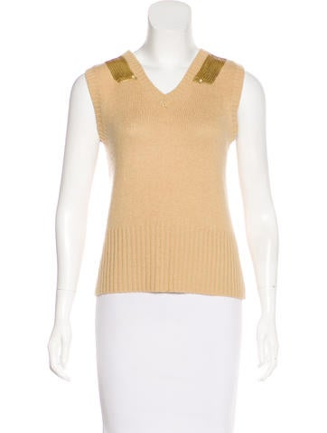 Strenesse Embellished Sleeveless Sweater None
