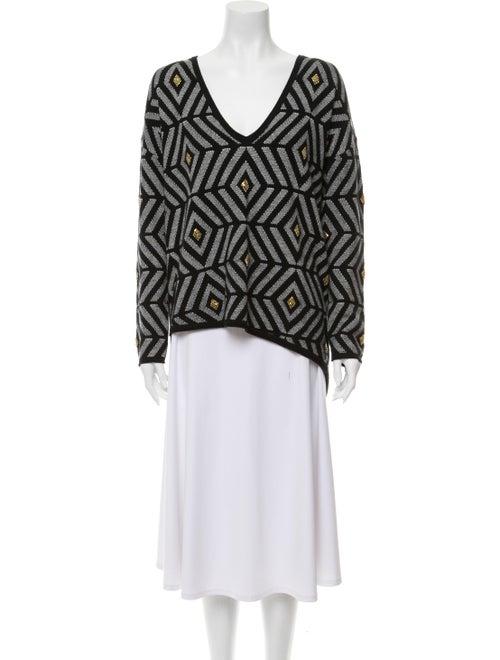 Sass & Bide Printed V-Neck Sweater Grey