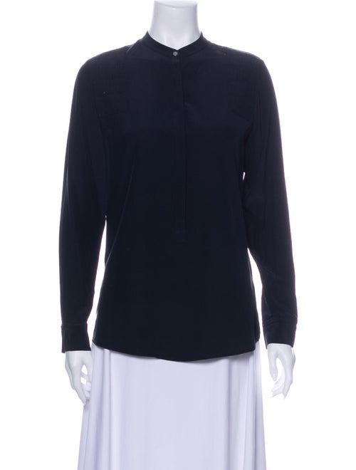 Sass & Bide Silk Mock Neck Button-Up Top Blue