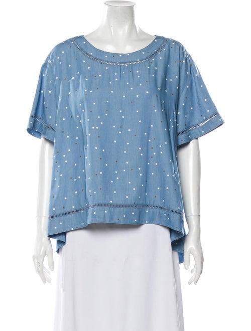 Sass & Bide Scoop Neck Short Sleeve Top Blue