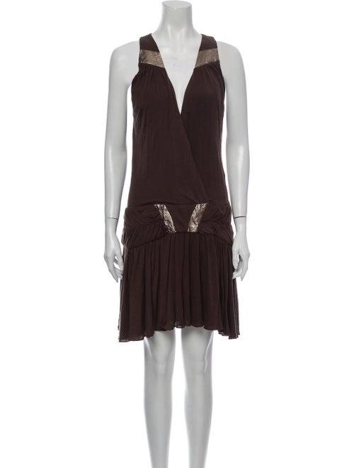 Sass & Bide V-Neck Mini Dress Brown