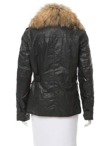 Fox-Trimmed Vegan Leather Jacket
