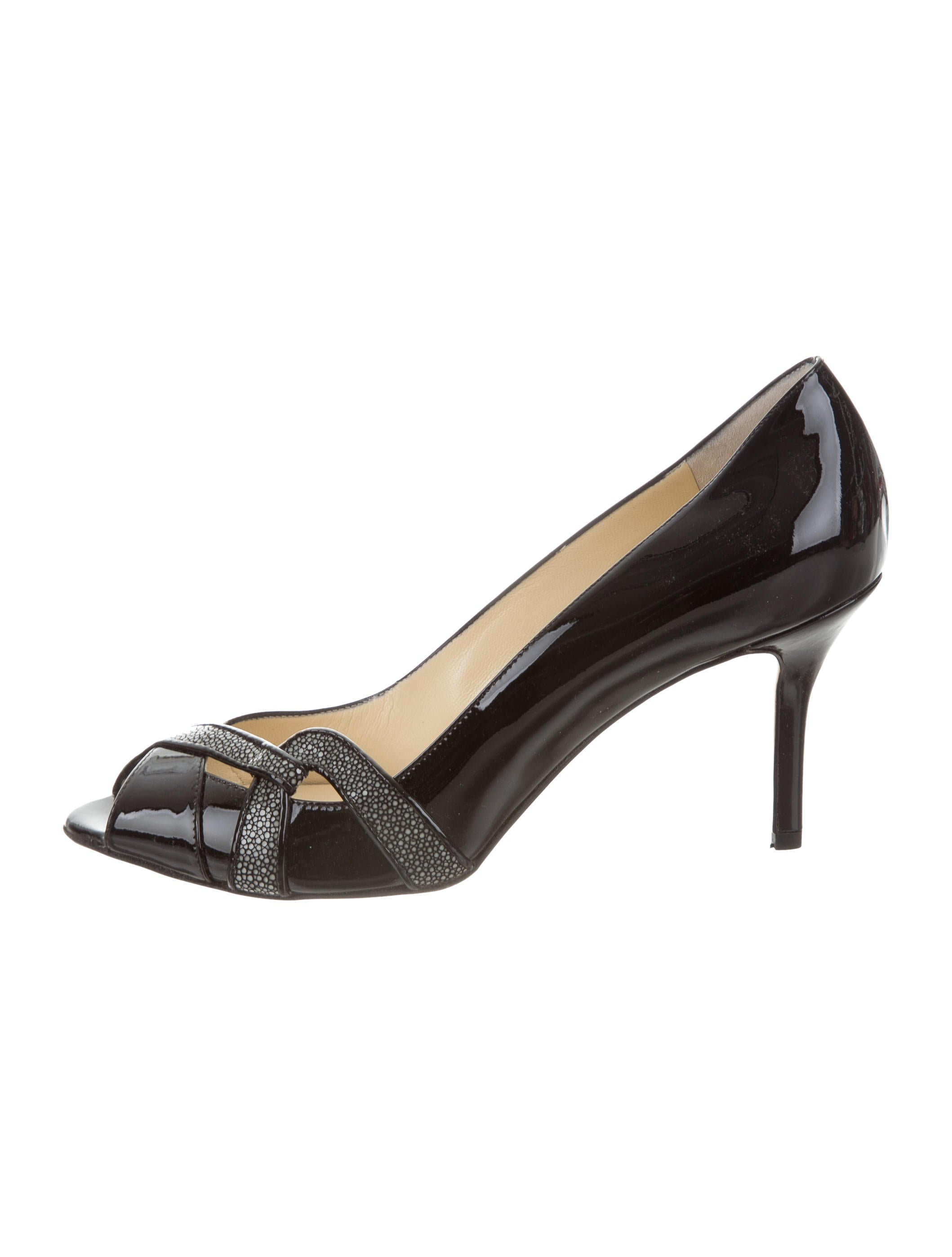 cheap sale real Sarah Flint Stingray-Trimmed Peep-Toe Pumps w/ Tags sale cost outlet new arrival outlet sast official online rPIkN1HEhA