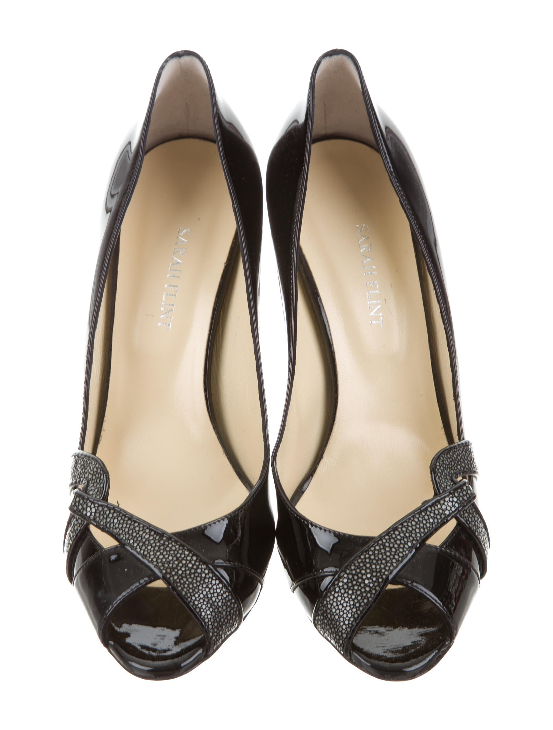 Sarah Flint Stingray-Trimmed Peep-Toe Pumps w/ Tags cheap how much uITOfteCaH