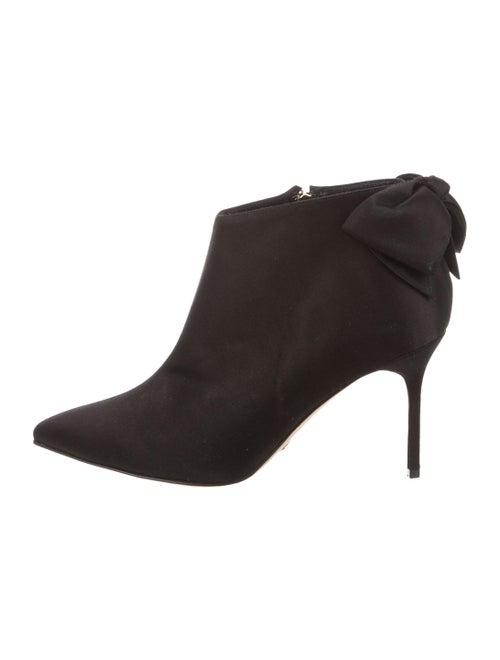 Sarah Flint Satin Pointed-Toe Booties Black