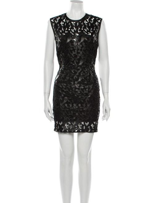Saylor Lace Pattern Mini Dress Black