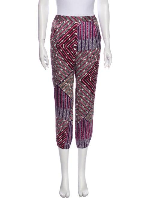 Asceno Silk Printed Pajamas Purple
