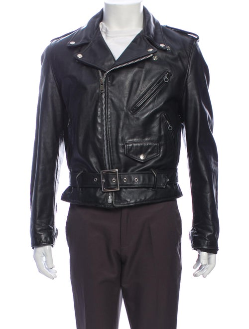 Schott NYC Calf Leather Moto Jacket Black