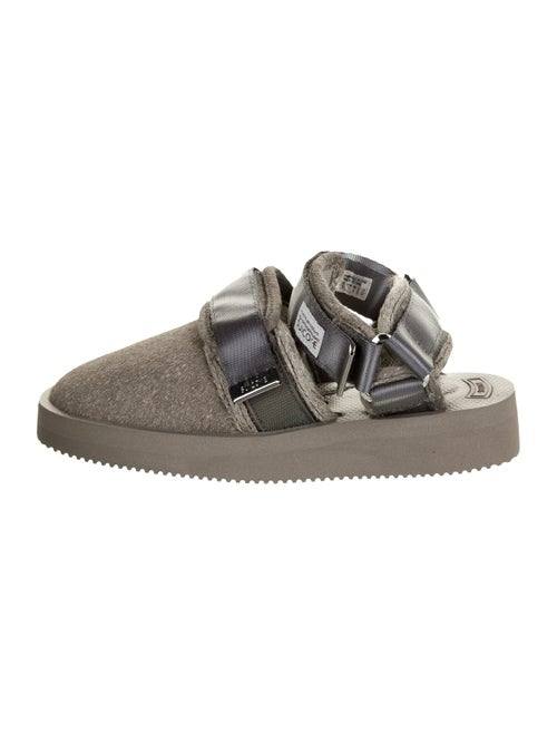 Suicoke Leather Slingback Flats Grey