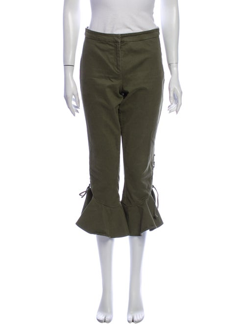 Scripted Flared Pants Green