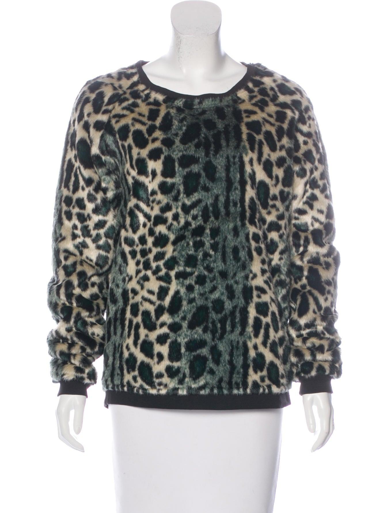 Maison Scotch Leopard Print Faux Fur Sweater Clothing