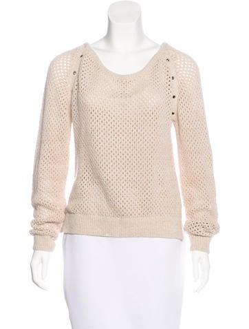 Maison Scotch Open Knit Scoop Neck Sweater None