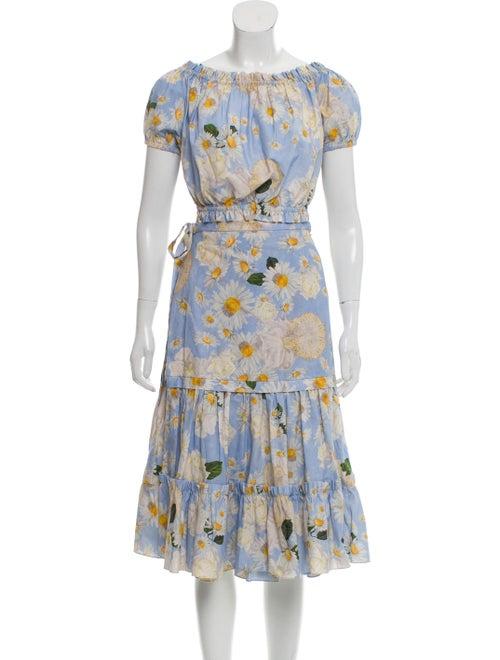 Isolda Floral Print Skirt Set Blue