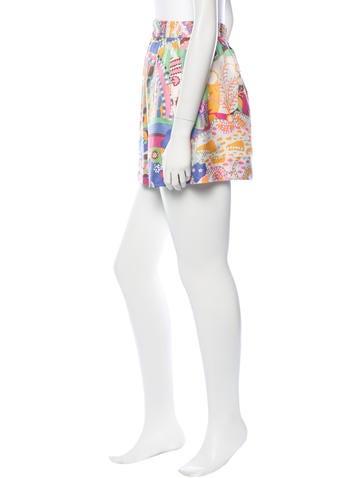 Abstract Print Silk Mini Skirt