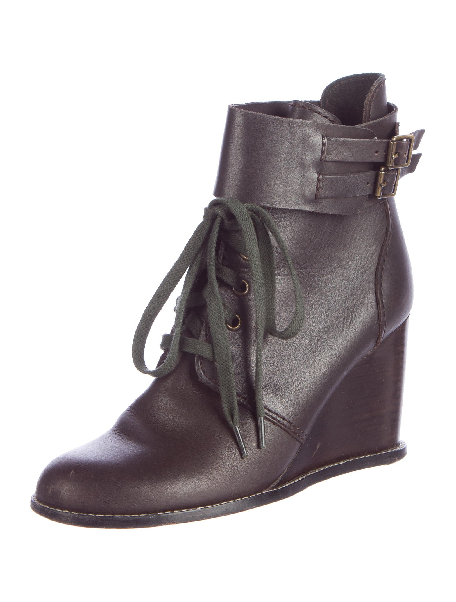 see by chlo 233 leather wedge ankle boots shoes wse25582
