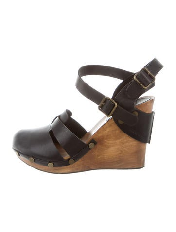 See by Chloé Leather Multi-Strap Wedges None
