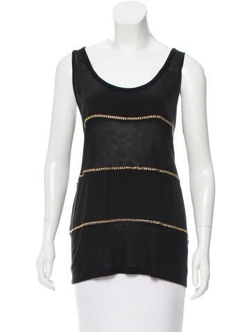 See by Chloé Silk-Trimmed Sleeveless Top