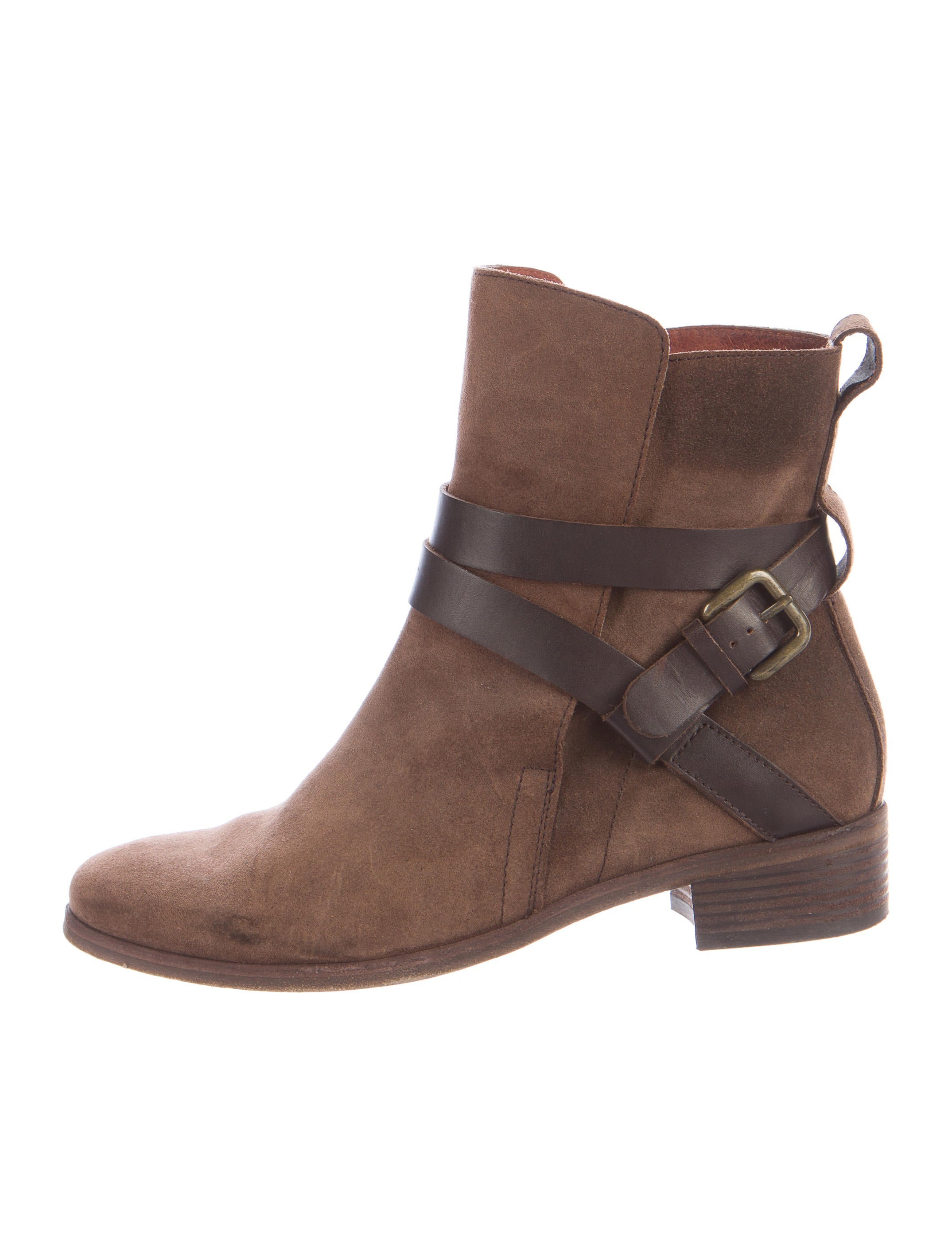 see by chlo 233 suede buckle accented boots shoes