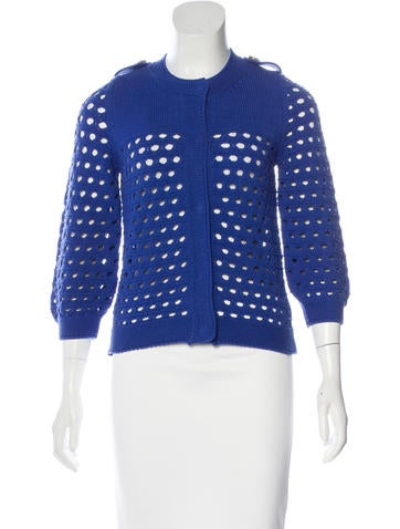 See by Chloé Cropped Open-Knit Cardigan None