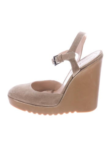 See by Chloé Suede Round-Toe Wedges None