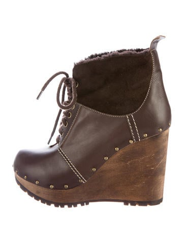 See by Chloé Sherpa-Trimmed Wedge Ankle Boots None