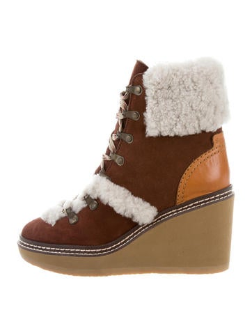 See by Chloé Suede Wedge Ankle Boots w/ Tags None