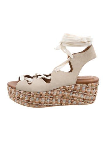 See by Chloé Lace-Up Suede Wedges None