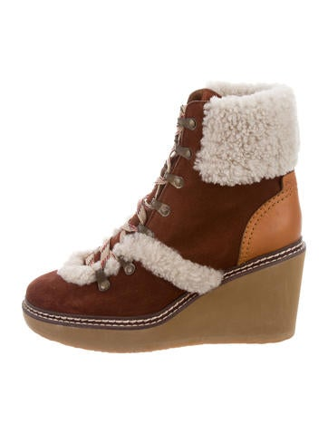 See by Chloé Shearling-Trimmed Ankle Boots None