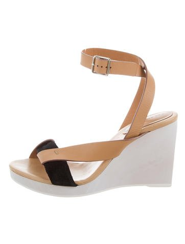 See by Chloé Leather Wedge Sandals None
