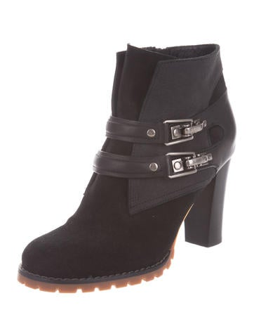 Suede Round-Toe Ankle Boots