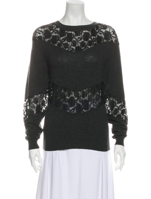 See by Chloé Lace Pattern Scoop Neck Sweater Black