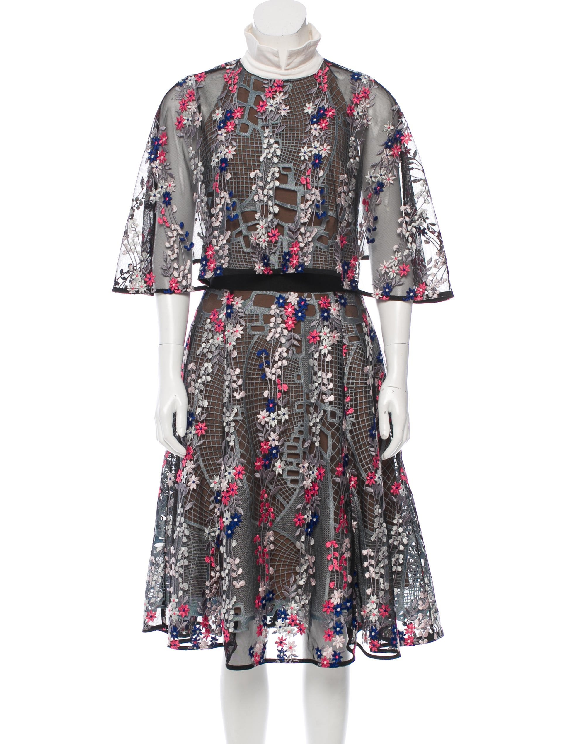 Floral-Embroidered Midi Dress