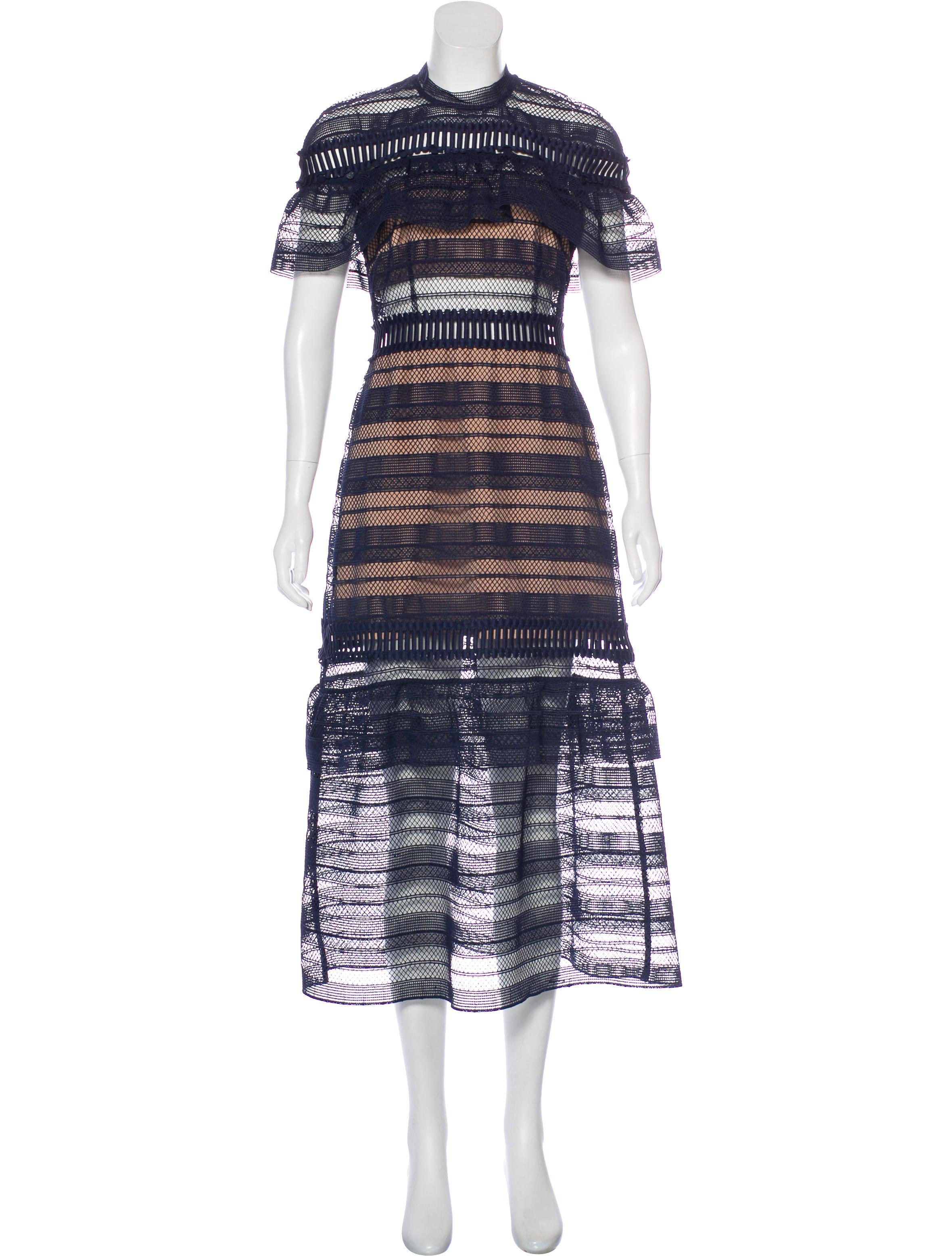 987caa29c9a6 Self-Portrait Nightshade Midi Dress - Clothing - WSELF22717 | The ...