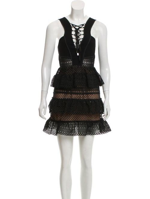 Self-Portrait Lace-Up Tiered Dress Black