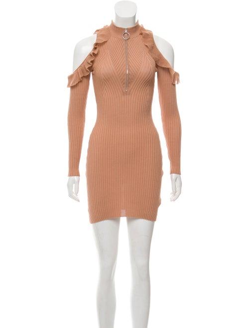 Self-Portrait Ruffle Cold-Shoulder Dress Beige