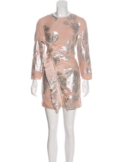 Self-Portrait Metallic Fil Coupe Mini Dress Pink