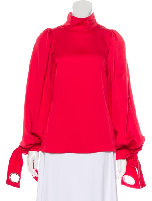 Self-Portrait Turtleneck Long Sleeve Blouse Red
