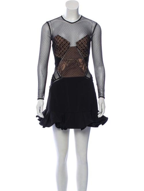 Self-Portrait Lace Mini Dress Black