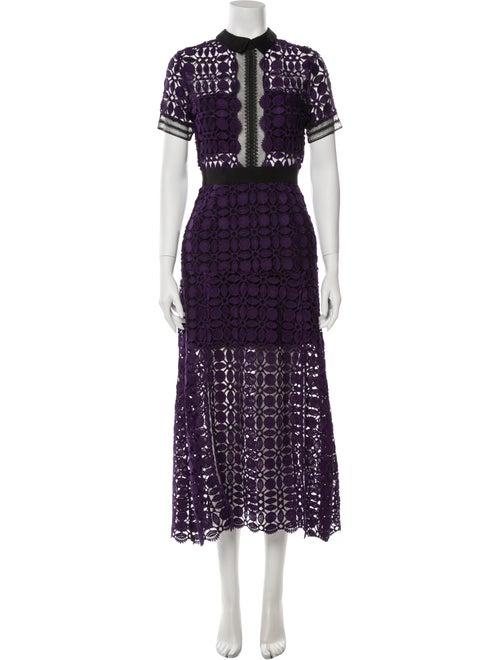 Self-Portrait Lace Pattern Long Dress Purple