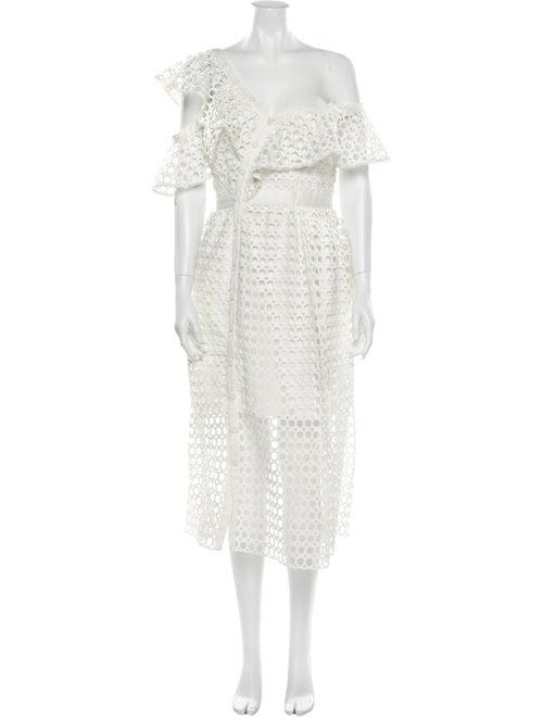 Self-Portrait Lace Pattern Midi Length Dress White