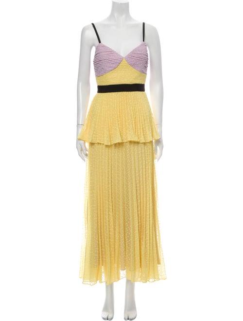 Self-Portrait Colorblock Pattern Long Dress