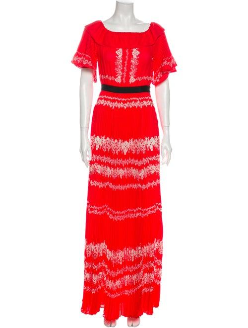 Self-Portrait Printed Long Dress Red