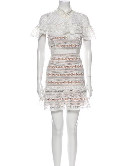 Self-Portrait Lace Pattern Mini Dress White