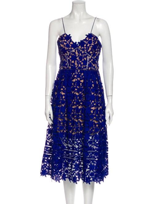 Self-Portrait Lace Pattern Midi Length Dress Blue