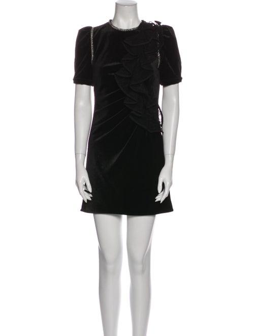 Self-Portrait Crew Neck Mini Dress Black