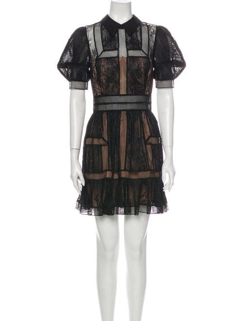 Self-Portrait Lace Pattern Mini Dress Black