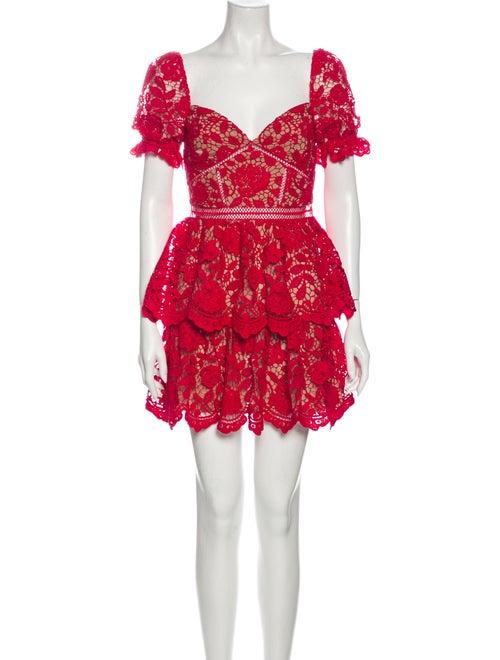 Self-Portrait Lace Pattern Mini Dress Pink
