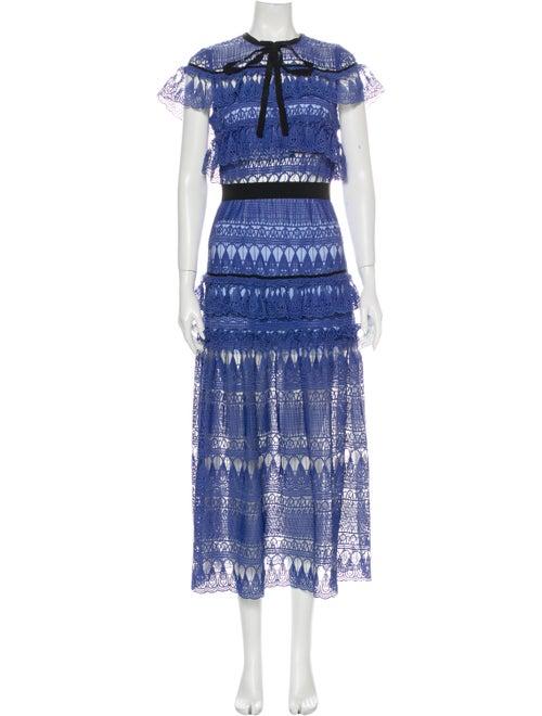 Self-Portrait Lace Pattern Long Dress Blue