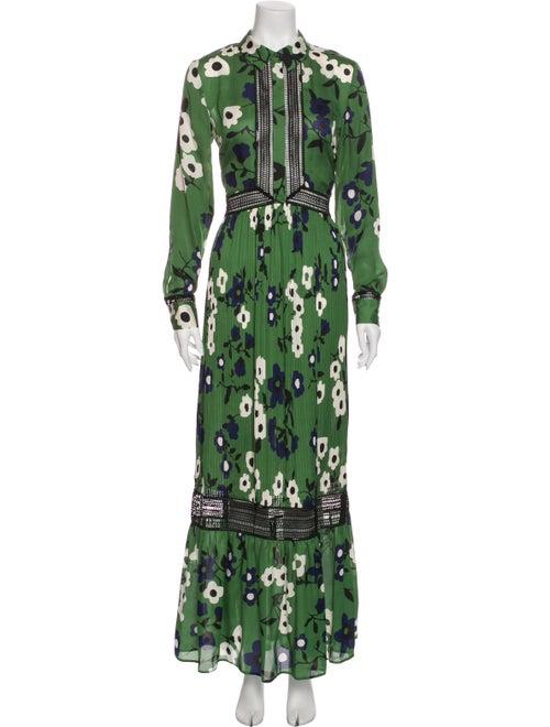 Self-Portrait Floral Print Long Dress Green